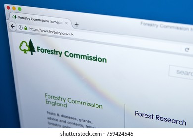 LONDON, UK - NOVEMBER 17TH 2017: Homepage of the official website for the Forestry Commission - the UK government department responsible for forestry in England and Scotland, on 17th November 2017.