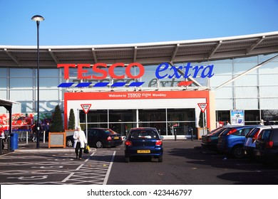 London, UK â?? November 19, 2011:  The entrance to the Tesco Extra supermarket store in Brent Park Wembley