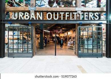 LONDON UK - NOVEMBER 19 2016: The exterior of Urban outfitters on November 19 2016, in London, England, UK. Urban outfitters is a popular clothing store.