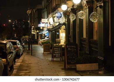 London, UK - November 19, 2017 - street life at Night