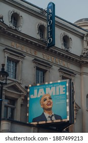 London, UK - November 19, 2020: Facade of The Apollo Theatre in London hosting Everybody's Talking About Jamie, a musical with music by Dan Gillespie Sells and book and lyrics by Tom MacRae.