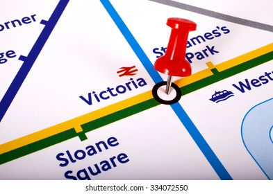 LONDON, UK - NOVEMBER 1ST 2015: A map pin marking the location of Victoria station on a London Underground Map, on 1st November 2015.
