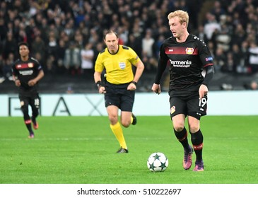 LONDON, UK - NOVEMBER 2, 2016: Julian Brandt pictured during the UEFA Champions League Group E game between Tottenham Hotspur and Bayer Leverkusen on Wembley.