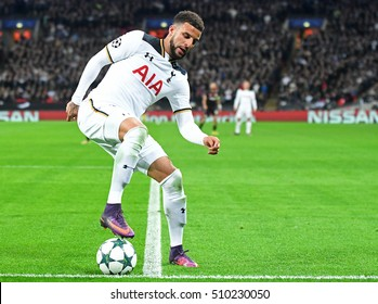 LONDON, UK - NOVEMBER 2, 2016: Kyle Walker pictured during the UEFA Champions League Group E game between Tottenham Hotspur and Bayer Leverkusen on Wembley.
