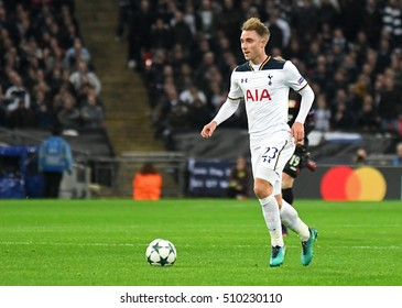 LONDON, UK - NOVEMBER 2, 2016: Christian Eriksen pictured during the UEFA Champions League Group E game between Tottenham Hotspur and Bayer Leverkusen on Wembley.