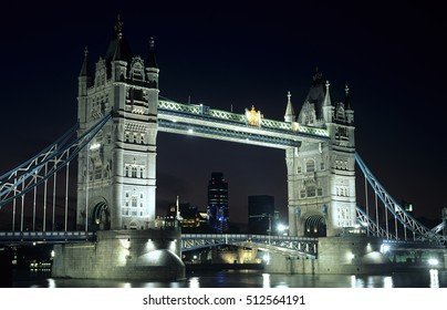 London, UK, November 2, 2016 : Tower Bridge at night on the River Thames in Tower Hamlets which is a popular tourist attraction