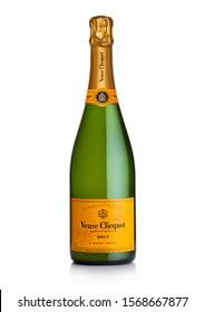 LONDON, UK - NOVEMBER 20, 2019: Bottle of Veuve Clicquot Brut world famous luxury champagne on white.