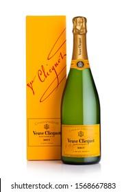 LONDON, UK - NOVEMBER 20, 2019: Bottle and box of Veuve Clicquot Brut world famous luxury champagne on white.