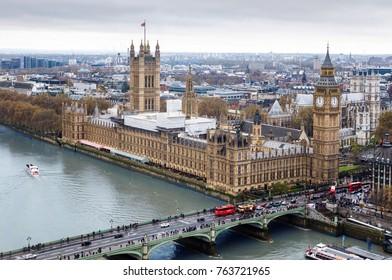 London, UK - November 2016 : Aerial landscape view of London, view from London eye.