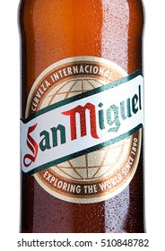 LONDON, UK- NOVEMBER, 2016: Cold bottle of San Miguel beer. The San Miguel brand of beer is the leading brand of the San Miguel Brewery Inc, the largest beer producer in the Philippines.