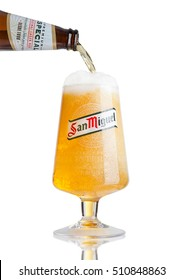 LONDON, UK- NOVEMBER, 2016: Cold glass of San Miguel beer. The San Miguel brand of beer is the leading brand of the San Miguel Brewery Inc, the largest beer producer in the Philippines.