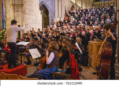 London, UK - November 2017. A choir practicing in the Southwark Cathedral during the Christmas advent.