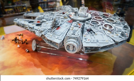 London, UK - November 2017. The new LEGO Millennium Falcon on display in the Lego Store in Leicester Square.