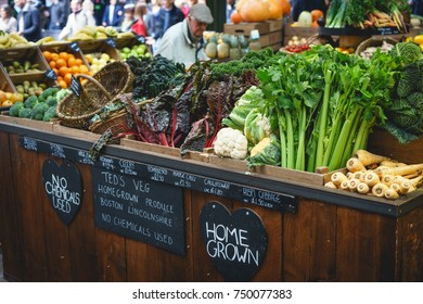 London, UK - November 2017. Vegetable stall in Borough Market, one of the largest and oldest food markets in London.