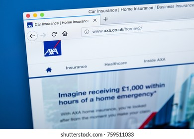 LONDON, UK - NOVEMBER 20TH 2017: The homepage of the official website for AXA - the French multinational insurance company, on 20th November 2017.