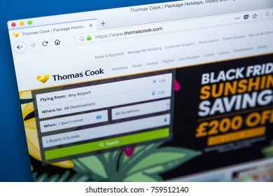 LONDON, UK - NOVEMBER 20TH 2017: The homepage of the official website for the travel agency Thomas Cook, on 20th November 2017.
