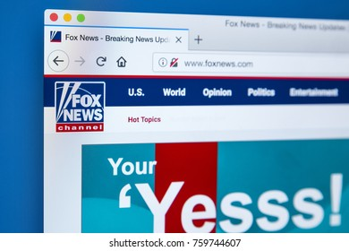 LONDON, UK - NOVEMBER 20TH 2017: The homepage of the official website for the Fox News Channel, on 20th November 2017.