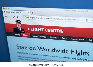 LONDON, UK - NOVEMBER 20TH 2017: The homepage of the official website for the Flight Centre Travel Group, on 20th November 2017.
