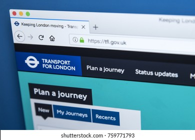 LONDON, UK - NOVEMBER 20TH 2017: The homepage of the official website for Transport for London - the local government body responsible for the transport system in Greater London, on 20th November 2017