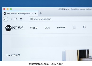 LONDON, UK - NOVEMBER 20TH 2017: The homepage of the official website for the ABC News television network, on 20th November 2017.