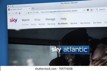 LONDON, UK - NOVEMBER 20TH 2017: The homepage of the Sky Atlantic television channel on the official website for Sky, on 20th November 2017.