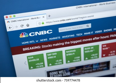 LONDON, UK - NOVEMBER 20TH 2017: The homepage of the official website for the CNBC television network, on 20th November 2017.