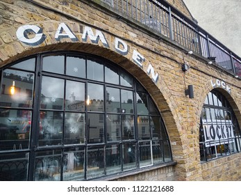 London, UK: November 21, 2017: The T.E. Dingwall building next to Regent's Canal is a live music and comedy venue adjacent to Camden Lock. It hosts gigs and a weekly Comedy Loft comedy club.
