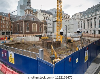 London, UK: November 21, 2017: The Bank Station capacity upgrade begins in Cannon Street. A new entrance, three ticket halls and ten platforms are under construction by the corporate Dragados Group.
