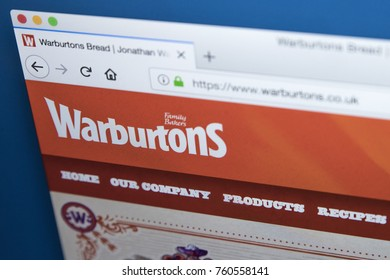 LONDON, UK - NOVEMBER 21ST 2017: The homepage of the official website for Warburtons - the british baking firm, on 21st November 2017.