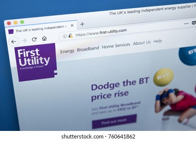 LONDON, UK - NOVEMBER 21ST 2017: The homepage of the official website for First Utility - supplier of gas and electricity in the UK, on 21st November 2017.
