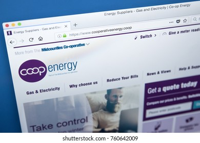 LONDON, UK - NOVEMBER 21ST 2017: The homepage of the official website for Co-operative Energy - the British energy supply company, on 21st November 2017.