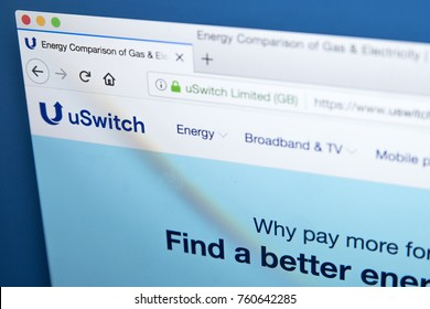 LONDON, UK - NOVEMBER 21ST 2017: The homepage of the official website for uSwitch - the UK-based price comparison website, on 21st November 2017.