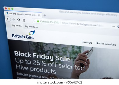 LONDON, UK - NOVEMBER 21ST 2017: The homepage of the official website for British Gas - the energy and home services provider in the UK, on 21st November 2017.