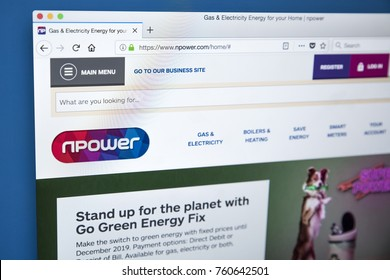 LONDON, UK - NOVEMBER 21ST 2017: The homepage of the official website for Npower - the electricity generator and supplier of gas and electricty, on 21st November 2017.