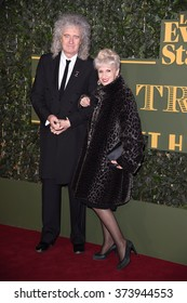 LONDON, UK - NOVEMBER 22, 2015: Brian May & Anita Dobson at the London Evening Standard Theatre Awards 2015 at the Old Vic Theatre, London Picture: Steve Vas / Featureflash