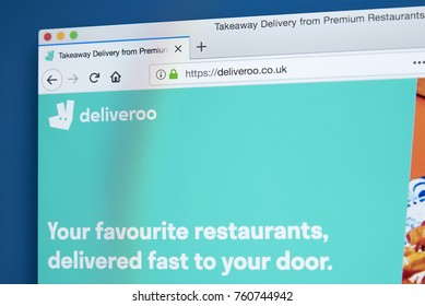 LONDON, UK - NOVEMBER 22ND 2017: The homepage of the official website for Deliveroo - the British online food delivery company, on 22nd November 2017.