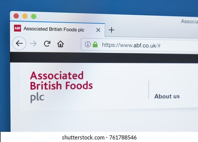 LONDON, UK - NOVEMBER 22ND 2017: The homepage of the official website for Associated British Foods plc - the British multinational food processing and retailing company, on 22nd November 22nd 2017.