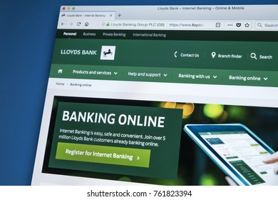 LONDON, UK - NOVEMBER 22ND 2017: The homepage of the Online Banking area on the Lloyds bank website, on 22nd November 22nd 2017.