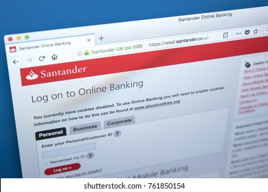 LONDON, UK - NOVEMBER 22ND 2017: The homepage of the Online Banking area on the Santander bank website, on 22nd November 22nd 2017.