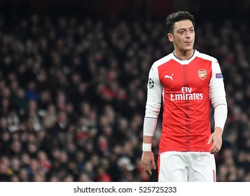 LONDON, UK - NOVEMBER 23, 2016: Mesut Ozil pictured during the UEFA Champions League Group A game between Arsenal FC and Paris Saint Germain on Emirates Stadium.