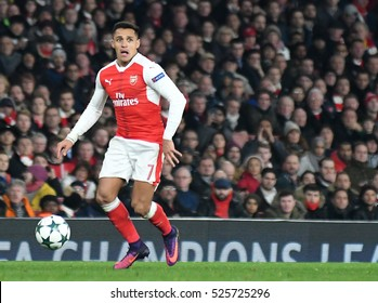 LONDON, UK - NOVEMBER 23, 2016: Alexis Sanchez pictured during the UEFA Champions League Group A game between Arsenal FC and Paris Saint Germain on Emirates Stadium.