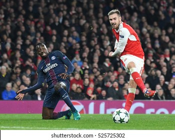 LONDON, UK - NOVEMBER 23, 2016: Blaise Matuidi and Aaron Ramsey pictured during the UEFA Champions League Group A game between Arsenal FC and Paris Saint Germain on Emirates Stadium.