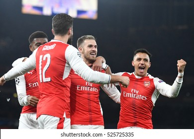 LONDON, UK - NOVEMBER 23, 2016: Aaron Ramsey and Alexis Sanchez celebrate during the UEFA Champions League Group A game between Arsenal FC and Paris Saint Germain on Emirates Stadium.