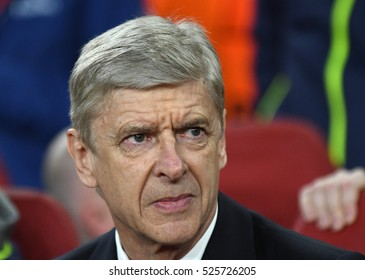 LONDON, UK - NOVEMBER 23, 2016: Arsenal manager Arsene Wenger pictured prior to the UEFA Champions League Group A game between Arsenal FC and Paris Saint Germain on Emirates Stadium.