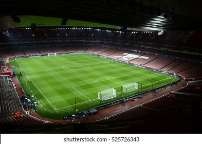 LONDON, UK - NOVEMBER 23, 2016: General view of Arsenal's stadium before the UEFA Champions League Group A game between Arsenal FC and Paris Saint Germain on Emirates Stadium.