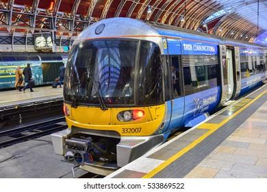 London, UK - November 24, 2016: Heathrow Express Train to Paddington Station in London, United Kingdom.
