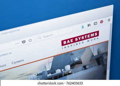 LONDON, UK - NOVEMBER 25TH 2017: The homepage of the official website for BAE Systems plc - the British multinational defence, security and aerospace company, on 25th November 2017.