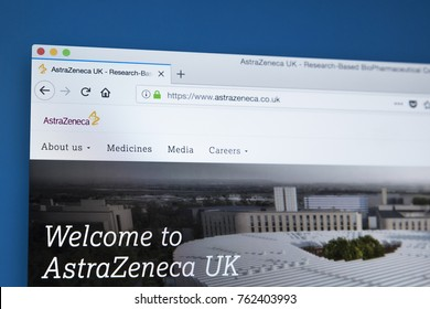 LONDON, UK - NOVEMBER 25TH 2017: The homepage of the official website for AstraZeneca - the Anglo Swedish multinational pharmaceutical and biopharmaceutical company, on 25th November 2017.