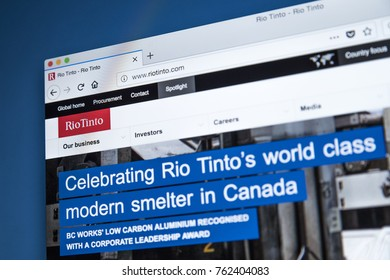 LONDON, UK - NOVEMBER 25TH 2017: The homepage of the official website for Rio Tinto - one of the worlds largest metals and mining corporations, on 25th November 2017.