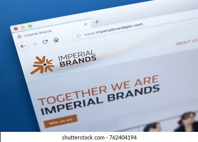 LONDON, UK - NOVEMBER 25TH 2017: The homepage of the official website for Imperial Brands - the British multinational tobacco company, on 25th November 2017.